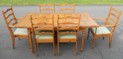 Antique Style Pine Dining Group by Jaycee
